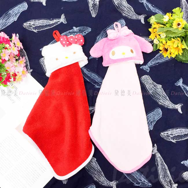 造型可掛式擦手巾 sanrio 凱蒂貓 美樂蒂 擦手毛巾 正版授權