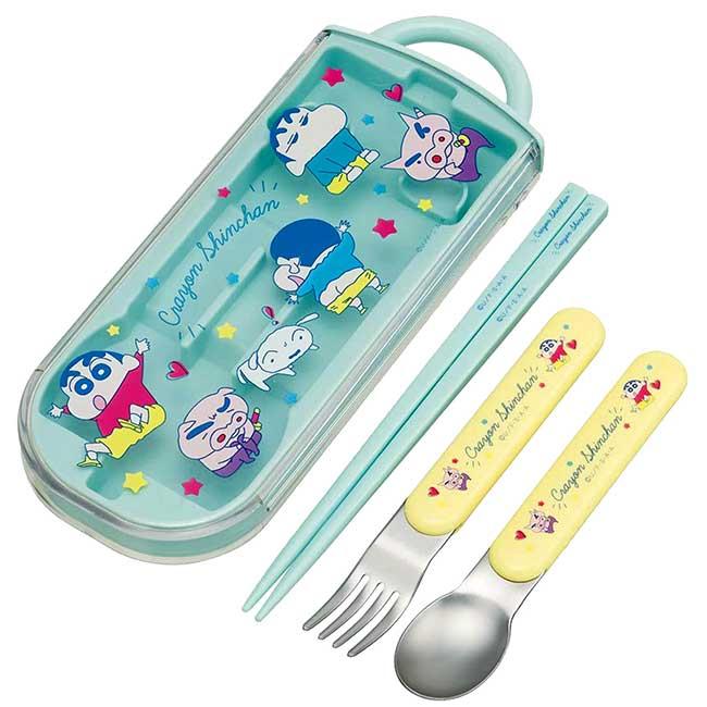 隨身餐具組 日本 蠟筆小新 Ag+ SIAA抗菌加工 SKATER 筷匙叉組 日本進口正版授權