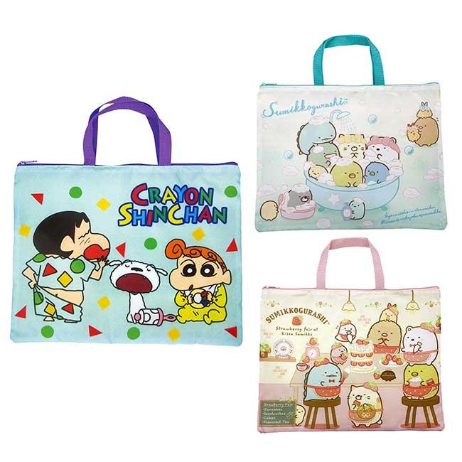 橫式尼龍手提袋 SAN-X 角落小夥伴 蠟筆小新 手提包 日本進口正版授權