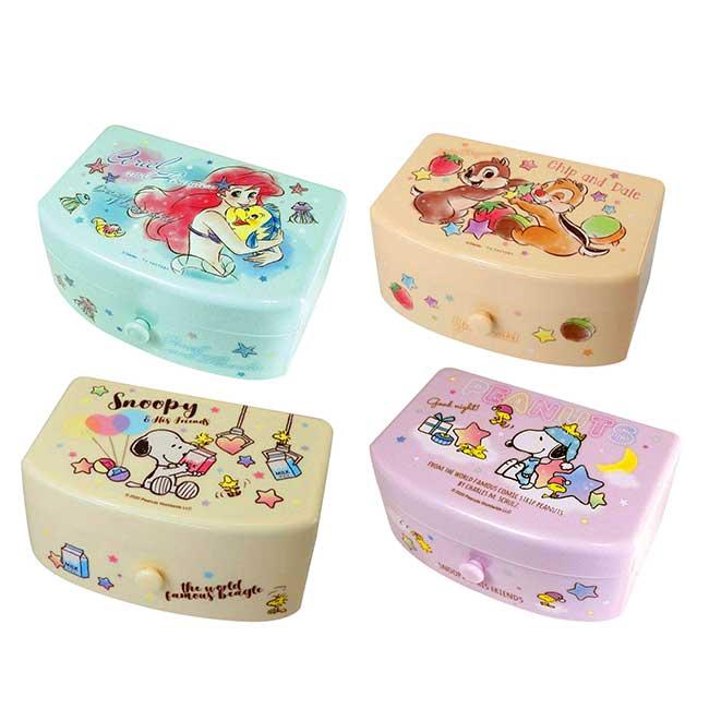 塑膠抽屜盒附鏡 迪士尼 奇奇蒂蒂 小美人魚 史努比 收納盒 日本進口正版授權