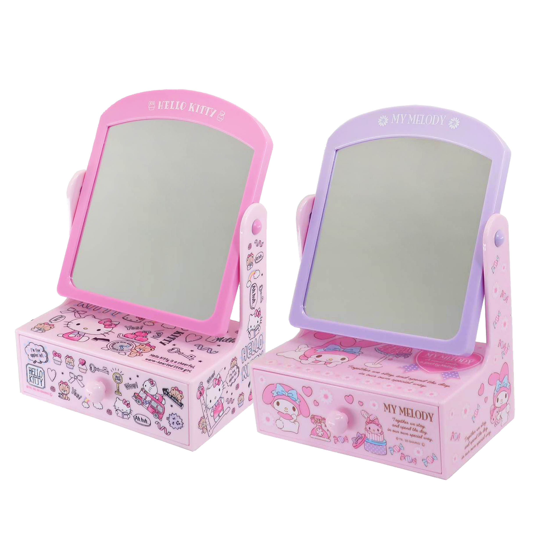 桌上型化妝鏡抽屜盒 凱蒂貓 美樂蒂 HELLO KITTY MY MELODY 三麗鷗 Sanrio 置物盒 日本進口正版授權