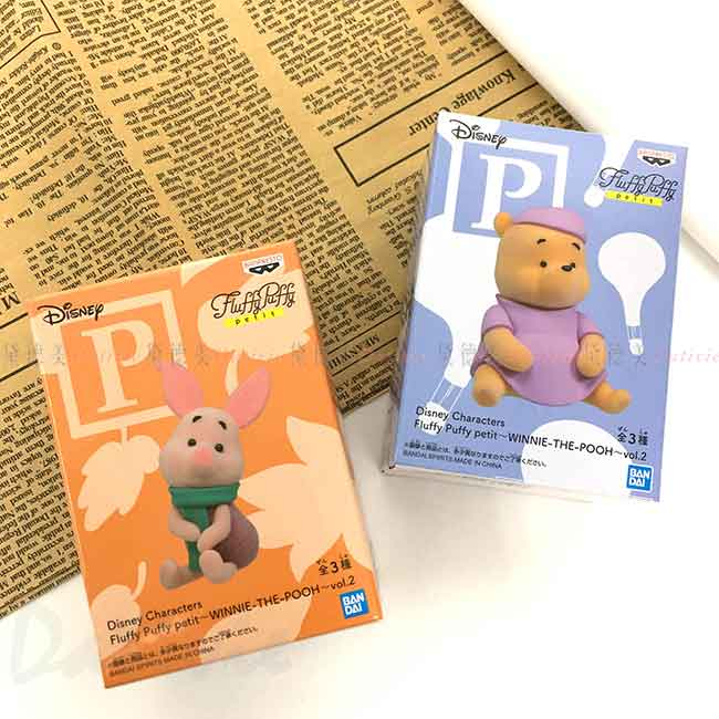 迷你公仔 小熊維尼 小豬 winnie PIGLET POOH Fluffy Puffy petit BANDAI 迪士尼 DISNEY 盒玩 日本進口正版授權