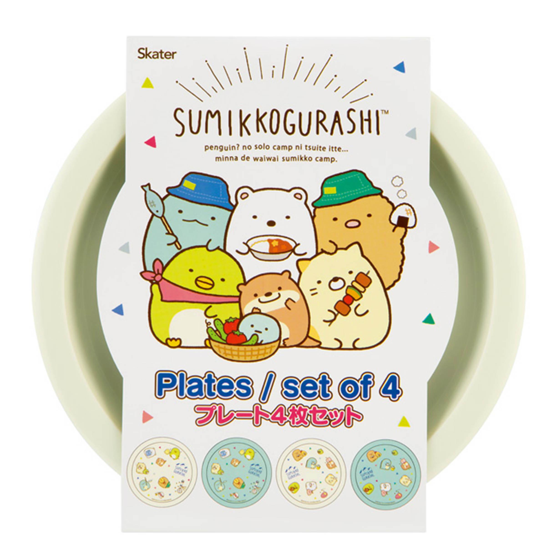 塑膠圓盤 4入 Plates SKATER 角落生物 Sumikkogurashi san-x 角落小夥伴 盤子 餐盤 日本進口正版授權