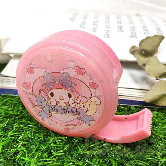 圓形塑膠隨身膠台 美樂蒂 My Melody 三麗鷗 Sanrio 膠帶台 日本進口正版授權