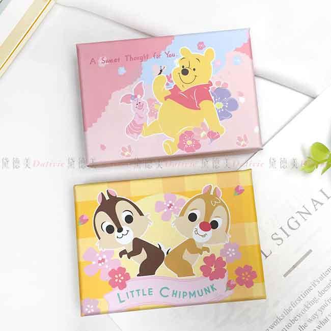 便條紙-附盒 迪士尼 櫻花系 奇奇蒂蒂 維尼小豬 彩色名片盒 正版授權