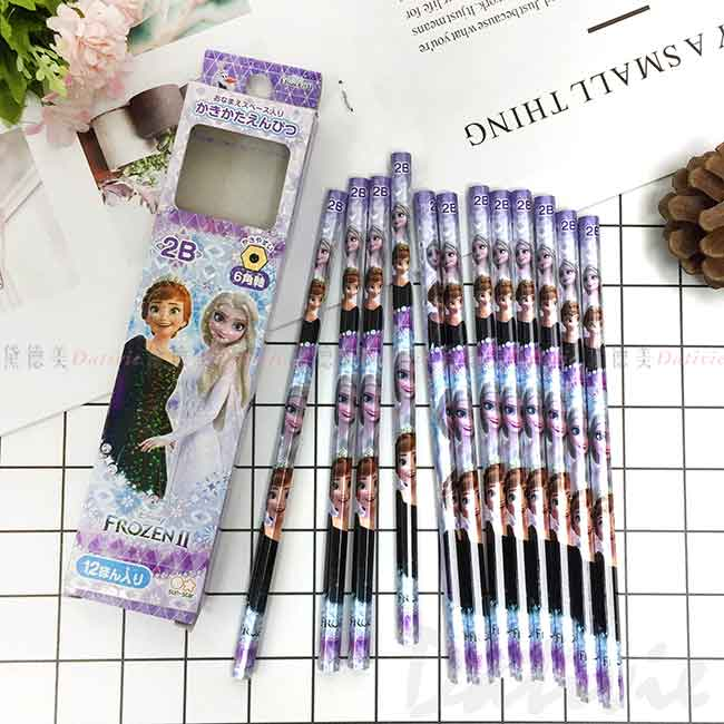 2B六角木頭鉛筆 日本 迪士尼 冰雪奇緣 FROZEN 可削式鉛筆 日本進口正版授權