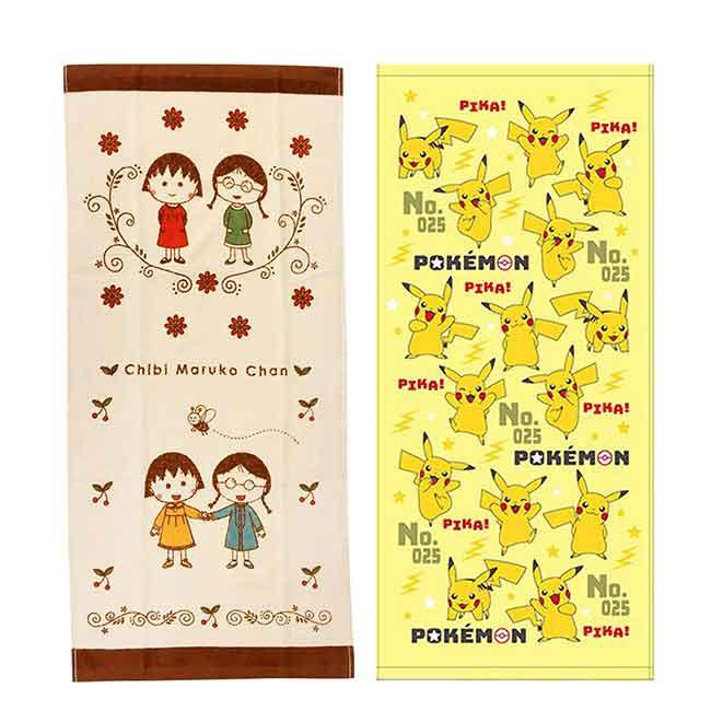 純棉毛巾2入 皮卡丘 神奇寶貝 寶可夢 櫻桃小丸子 純棉毛巾 日本進口正版授權