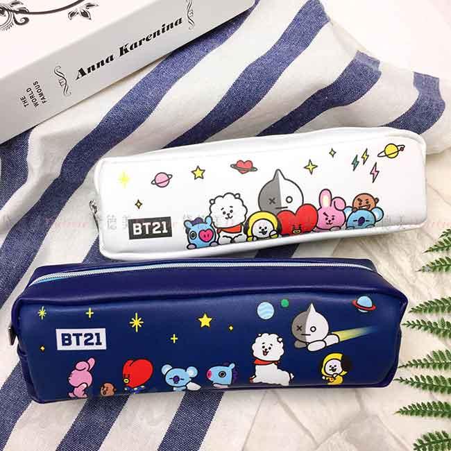 皮質中方型筆袋 BT21 LINE FRIENDS 拉鍊筆袋 正版授權