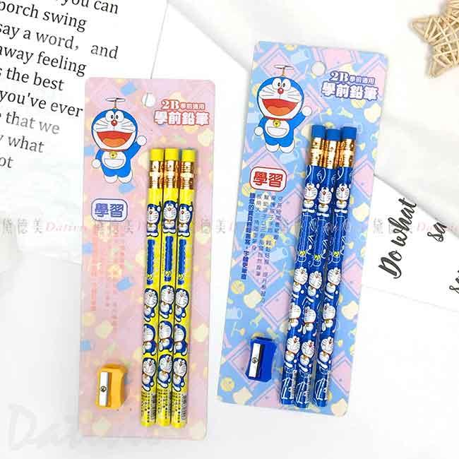 2B學前三角鉛筆3入 三麗鷗 哆啦A夢 DORAEMON 木頭鉛筆 正版授權