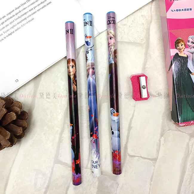 2B學前三角鉛筆3入 Disney 冰雪奇緣 木頭鉛筆 正版授權