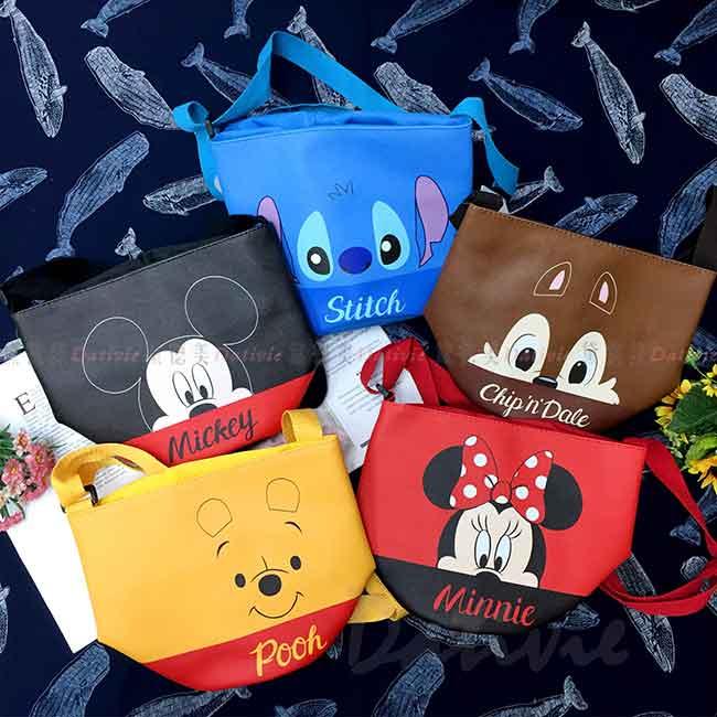 束口圓筒側背包 Disney 史迪奇 米奇米妮 維尼 奇奇蒂蒂 包包 正版授權
