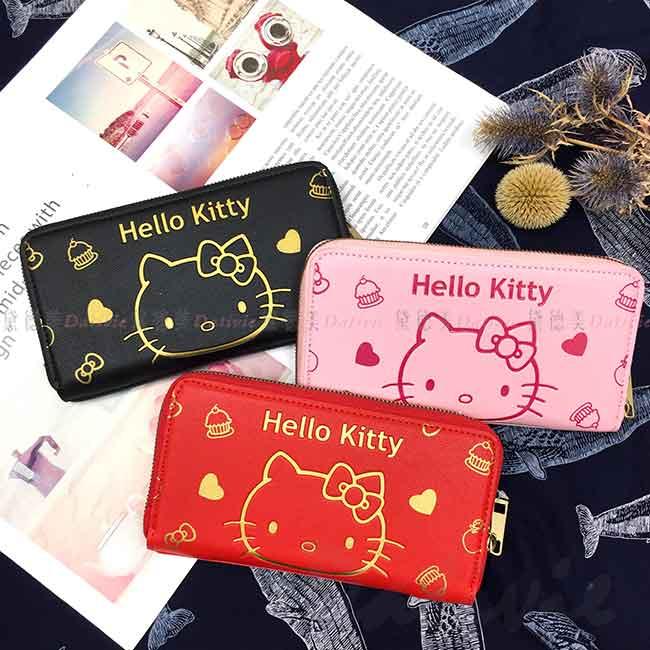 仿皮電壓長夾 三麗鷗 凱蒂貓 HELLO KITTY 拉鍊長皮夾 正版授權