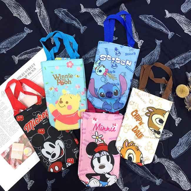 飲料提袋 Disney 米奇米妮 史迪奇 奇奇蒂蒂 小熊維尼 水壺提袋 正版授權
