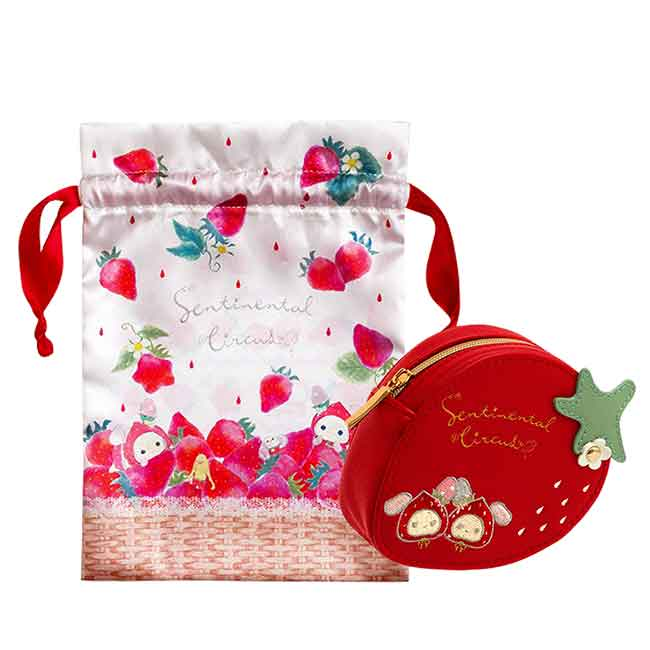硬殼皮質零錢包 san-x 憂傷馬戲團 尋找草莓的眼淚 深情馬戲團 束口袋錢包 日本進口正版授權