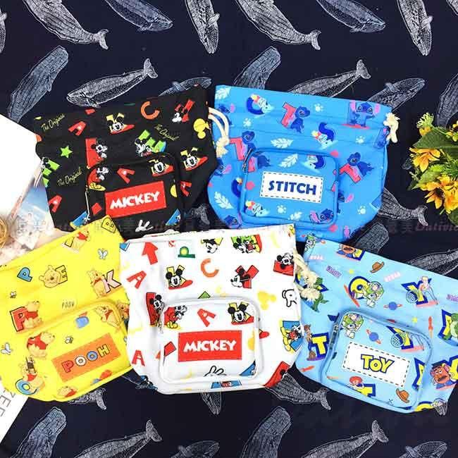 束口小側包 Disney 米奇 史迪奇 維尼 玩具總動員 小包包 正版授權