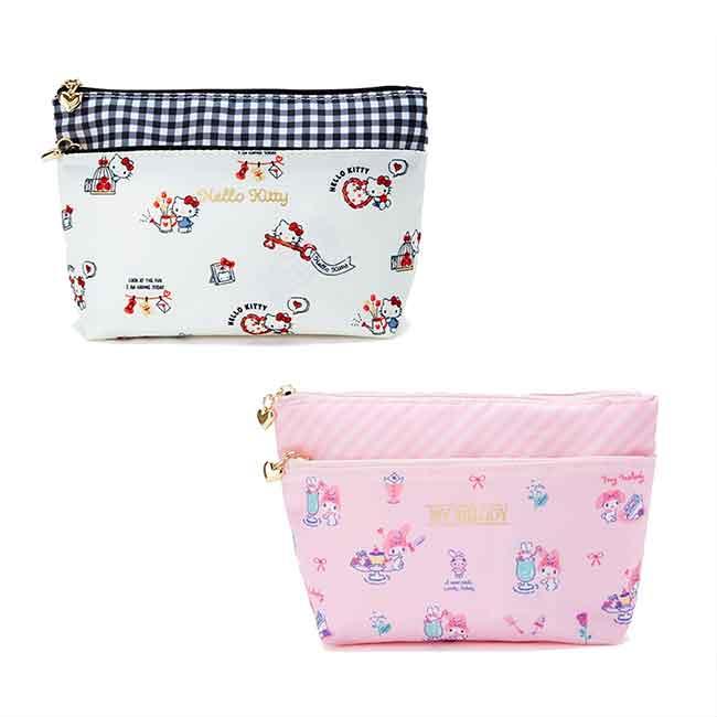 三角雙層化妝包 三麗鷗 kitty 美樂蒂 雙拉鍊化妝包 日本進口正版授權