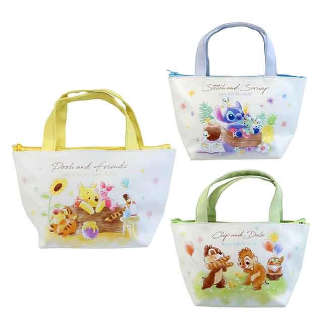 保冷雙層提袋 Disney 奇奇蒂蒂 小熊維尼 史迪奇 提包 日本進口正版授權