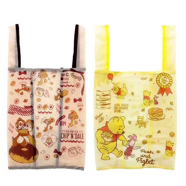 摺疊環保購物袋 迪士尼 奇奇蒂蒂 小熊維尼 洗衣袋觸感 手提袋 日本進口正版授權