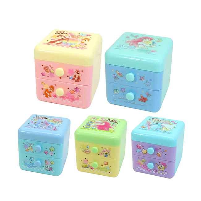 桌上型塑膠雙抽收納盒 Disney 小美人魚 玩具總動員 怪獸電力公司 奇奇蒂蒂 史迪奇 置物盒 日本進口正版授權