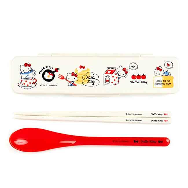 兩件式餐具組附盒 日本 Sanrio Original 凱蒂貓 HELLO KITTY 湯匙筷子組 日本進口正版授權