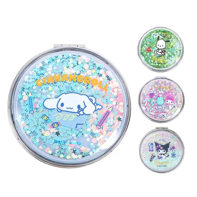 圓形流沙隨身雙面鏡 Sanrio Original 酷洛米 美樂蒂 大耳狗 帕洽狗 圓鏡 日本進口正版授權