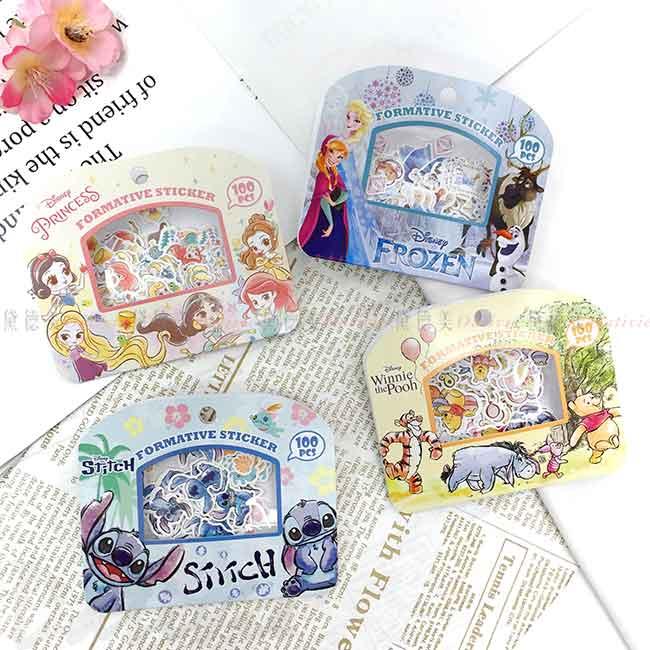 迷你貼紙包 Disney 冰雪奇緣 史迪奇 小熊維尼 公主系列 造型貼紙 正版授權