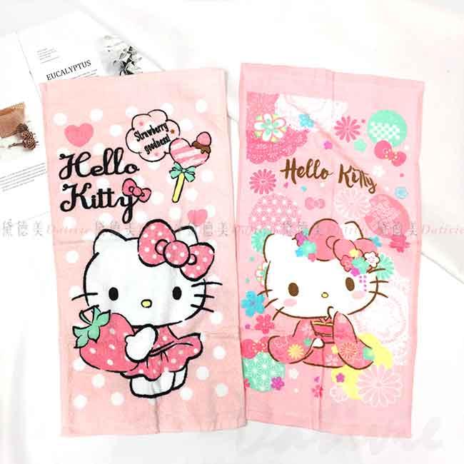 純棉童巾 Sanrio KITTY 草莓 櫻花 凱蒂貓 三麗鷗 毛巾 正版授權