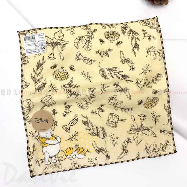 純棉紗布方巾 日本 Disney 小熊維尼 POOH 手帕 日本進口正版授權