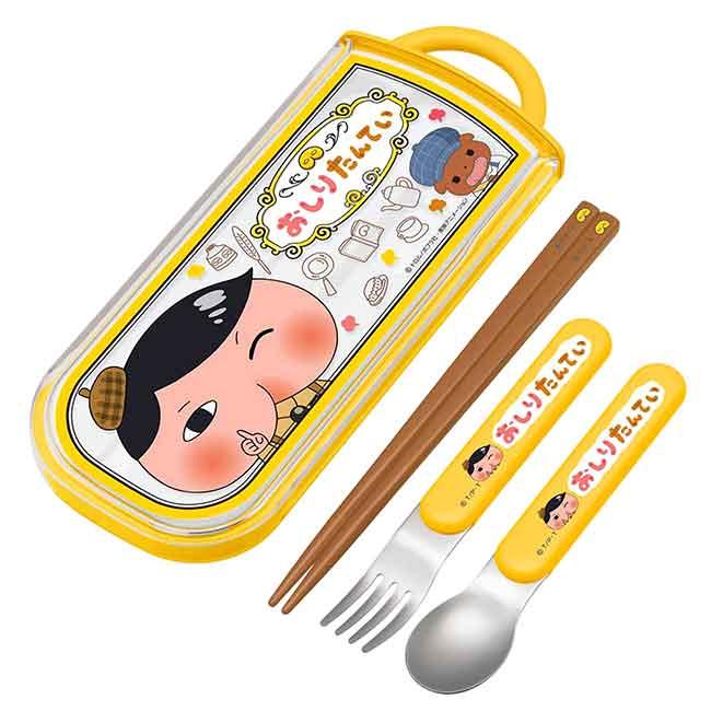 滑蓋三件式餐具組 日本 屁屁偵探 SKATER 筷叉匙 日本進口正版授權