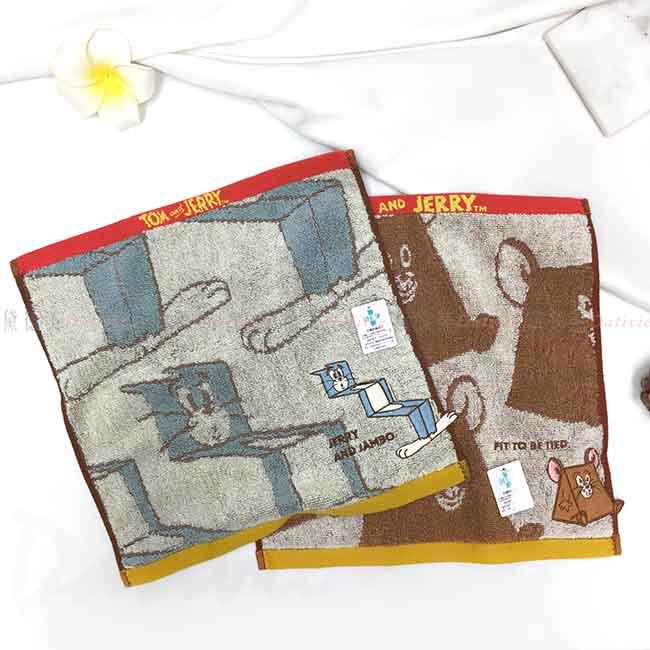 純棉刺繡方巾 湯姆貓與傑利鼠 SEK抗菌防臭 TOM AND JERRY 丸真 毛巾 日本進口正版授權