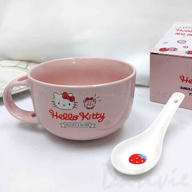 陶瓷湯杯附湯匙 Sanrio 凱蒂貓 HELLO KITTY 三麗鷗 湯碗 正版授權