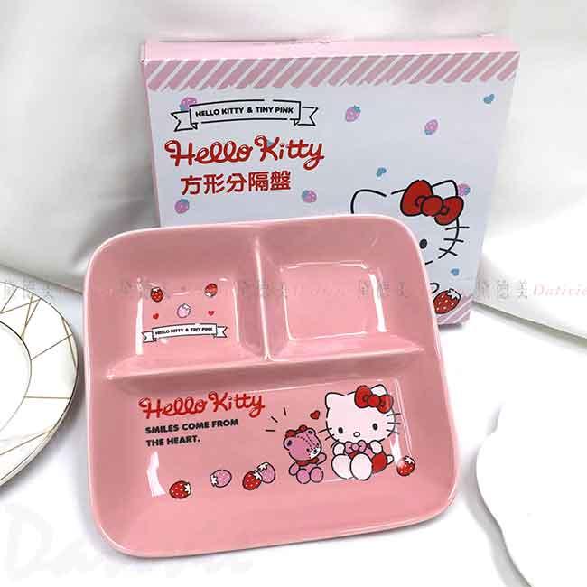 方形陶瓷分隔盤 Sanrio 凱蒂貓 HELLO KITTY 三麗鷗 餐盤 正版授權
