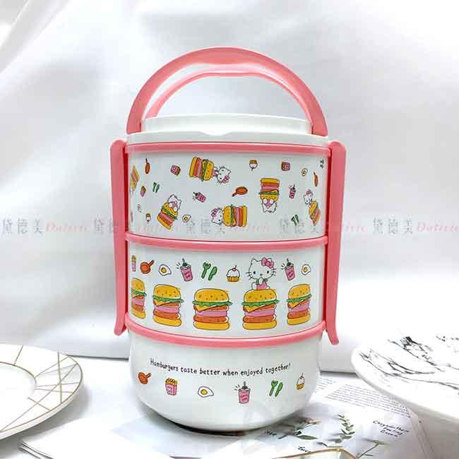 手提三層便當盒 Sanrio 凱蒂貓 HELLO KITTY 三麗鷗 餐盒 日本進口正版授權