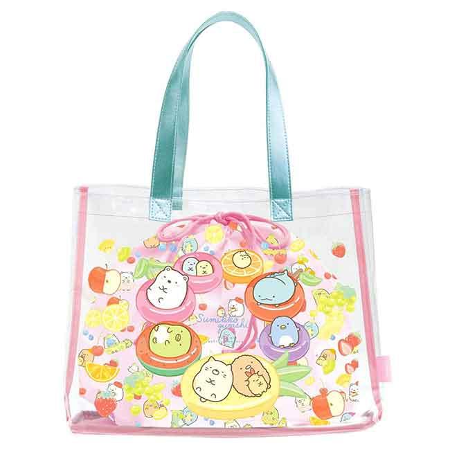 防水透明提袋附束口袋 San-x 角落生物 水果風 提包 日本進口正版授權