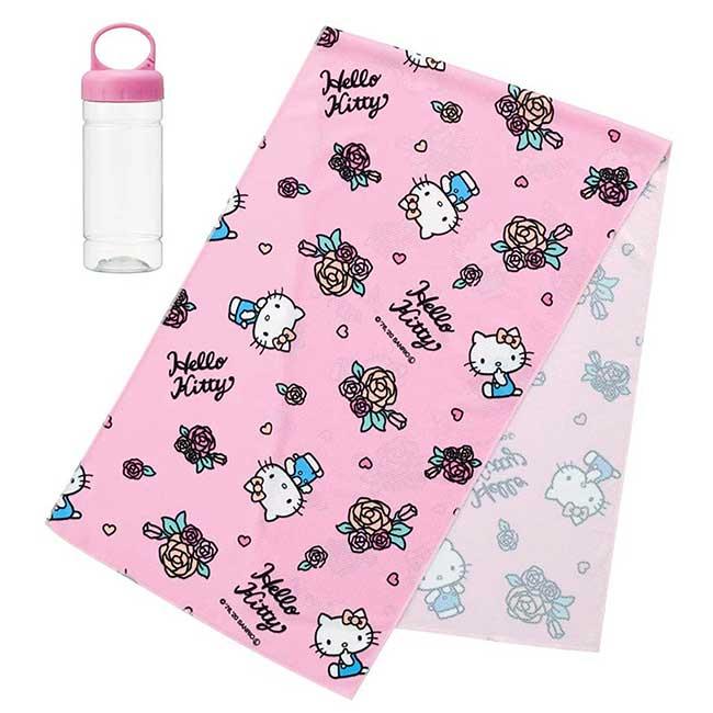 涼感長巾附手提收納罐 Sanrio 凱蒂貓 KITTY SKATER 日本進口正版授權