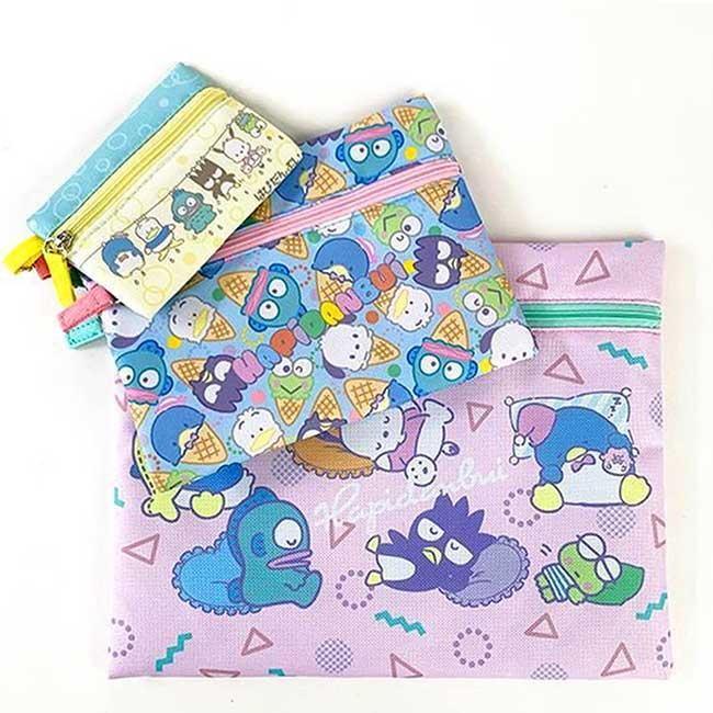 拉鍊帆布扁袋3入 三麗鷗 角色集合 Sanrio 收納袋 日本進口正版授權