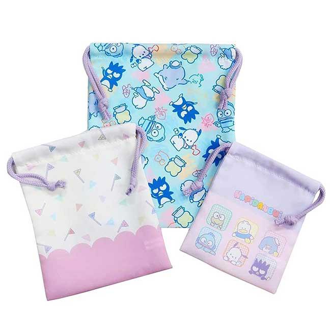 束口袋3入 三麗鷗 Pouch 角色集合 Sanrio 收納袋 日本進口正版授權