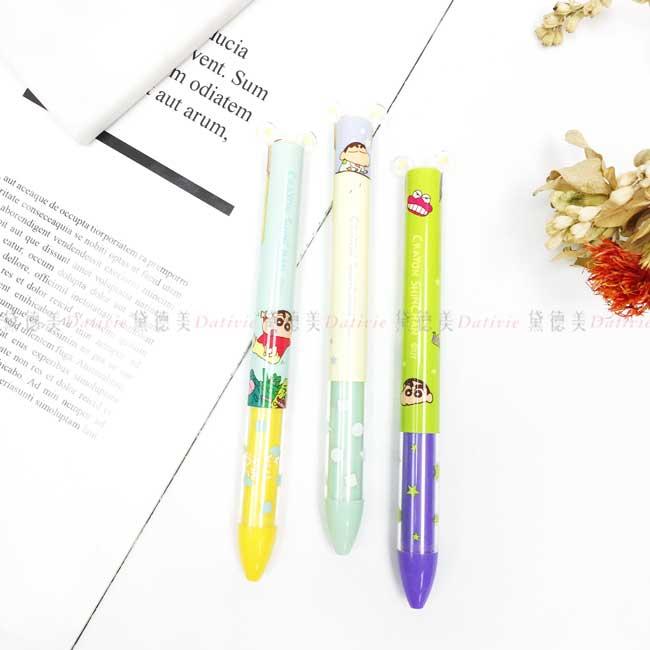 雙色原子筆 蠟筆小新 塗鴉 晚安 玩具箱 按壓原子筆 正版授權