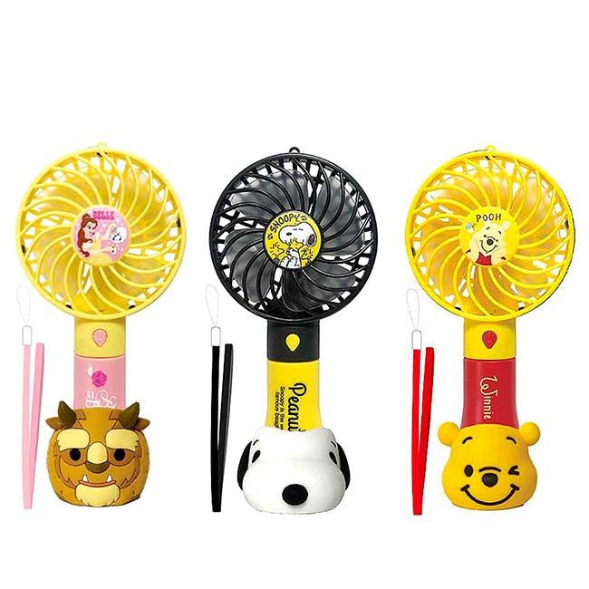 USB隨身電風扇附底座 史努比 美女與野獸 小熊維尼 手持風扇 日本進口正版授權