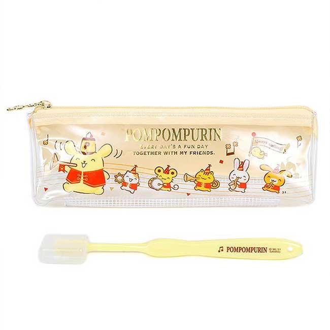 旅行牙刷組 日本 Sanrio Original 布丁狗 Pomupomupurinin 附袋牙刷 日本進口正版授權