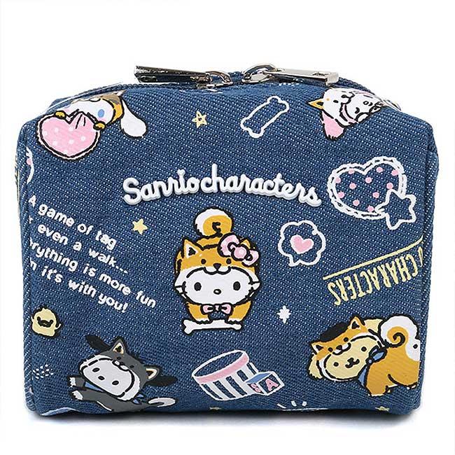 牛仔布寬口化妝包  Sanrio Original KITTY 柴犬 角色集合 三麗鷗 收納包 日本進口正版授權