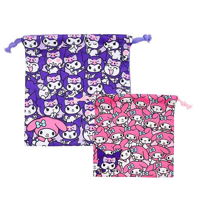 束口袋 Sanrio 酷洛米 美樂蒂 KUROMI MELODY 收納袋 日本進口正版授權
