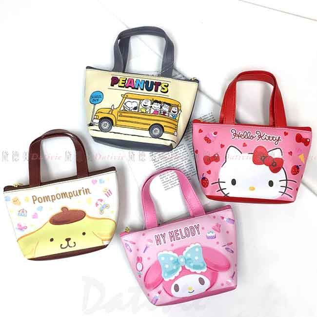 迷你仿皮手提包 三麗鷗 KITTY 美樂蒂 布丁狗 史努比 小包包 日本進口正版授權