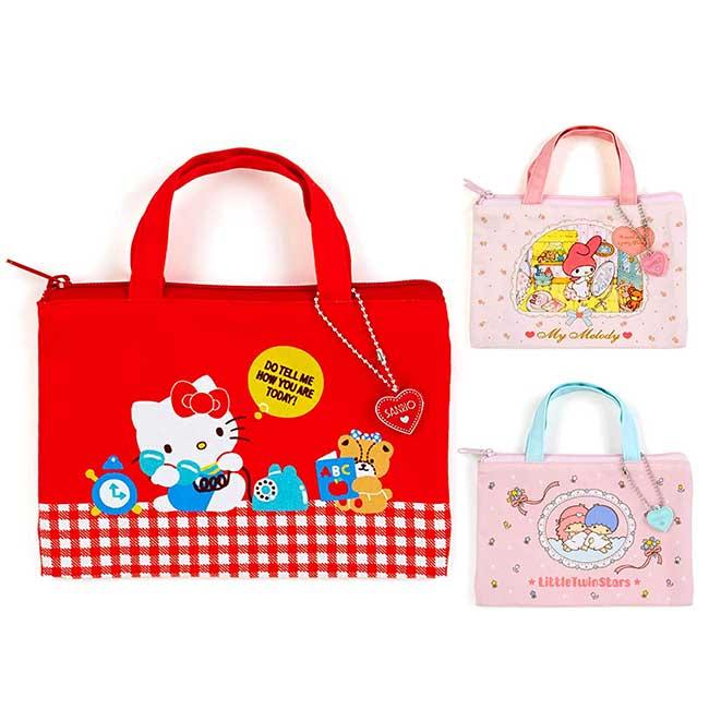 手提化妝包扁袋 Sanrio Original 凱蒂貓 KT 雙子星 美樂蒂 收納包 日本進口正版授權