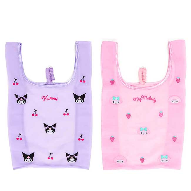 折疊絲質環保購物袋 Sanrio Original 酷洛米 美樂蒂 收納購物袋 日本進口正版授權