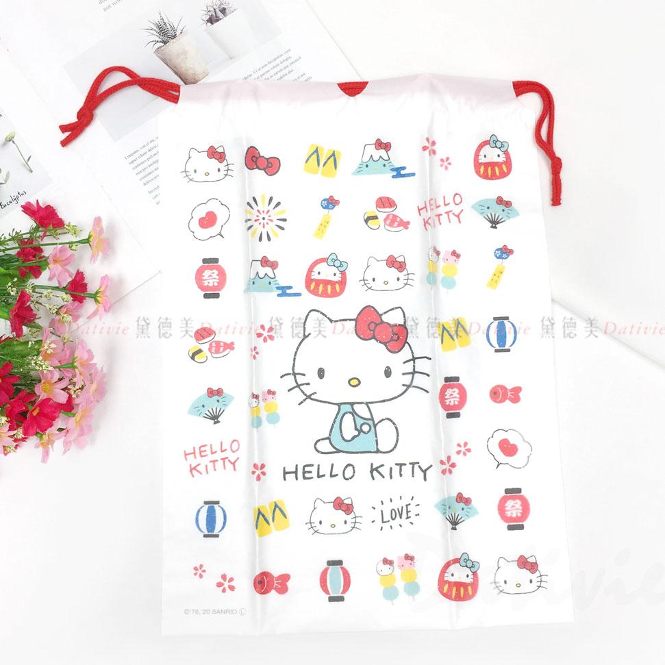 防水束口袋 三麗鷗 Sanrio 凱蒂貓 double thick clothes bag HELLO KITTY 收納袋 日本進口正版授權