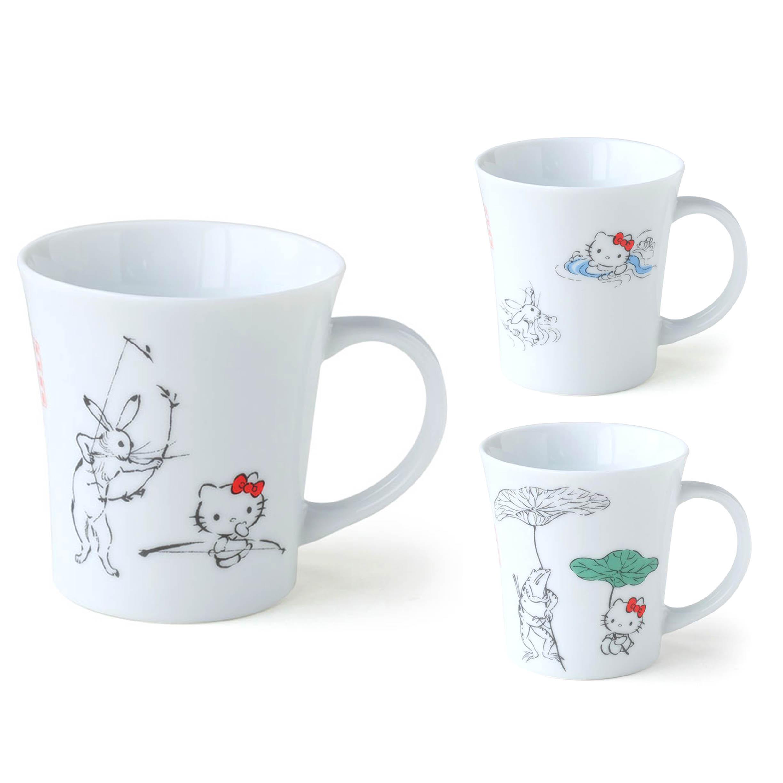陶瓷馬克杯 日本 SANRIO 凱蒂貓 弓遊び 水遊び 蓮の傘 ハローキティ鳥獸戲畫 杯子 日本進口正版授權