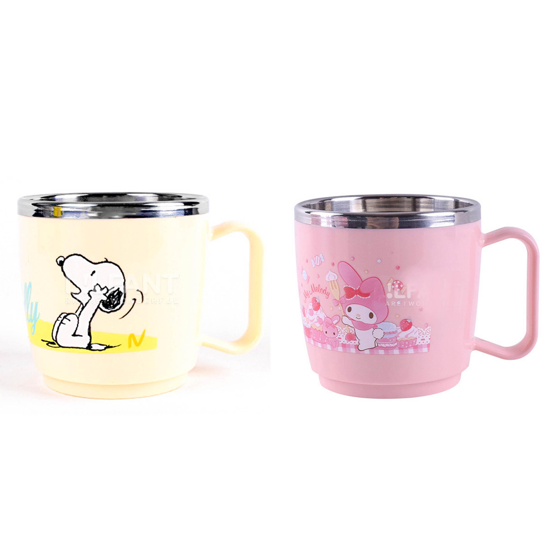 不鏽鋼塑膠杯 韓國260ml-史努比 美樂蒂 SNOOPY MY MELODY PEANUTS 三麗鷗 Sanrio 韓國進口正版授權
