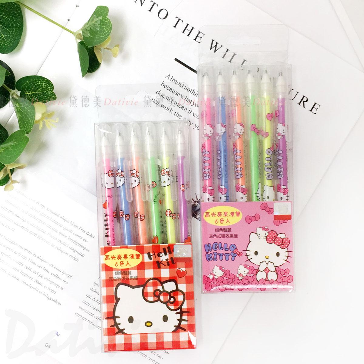 高光亮果凍筆 6入 凱蒂貓 HELLO KITTY 三麗鷗 Sanrio  正版授權