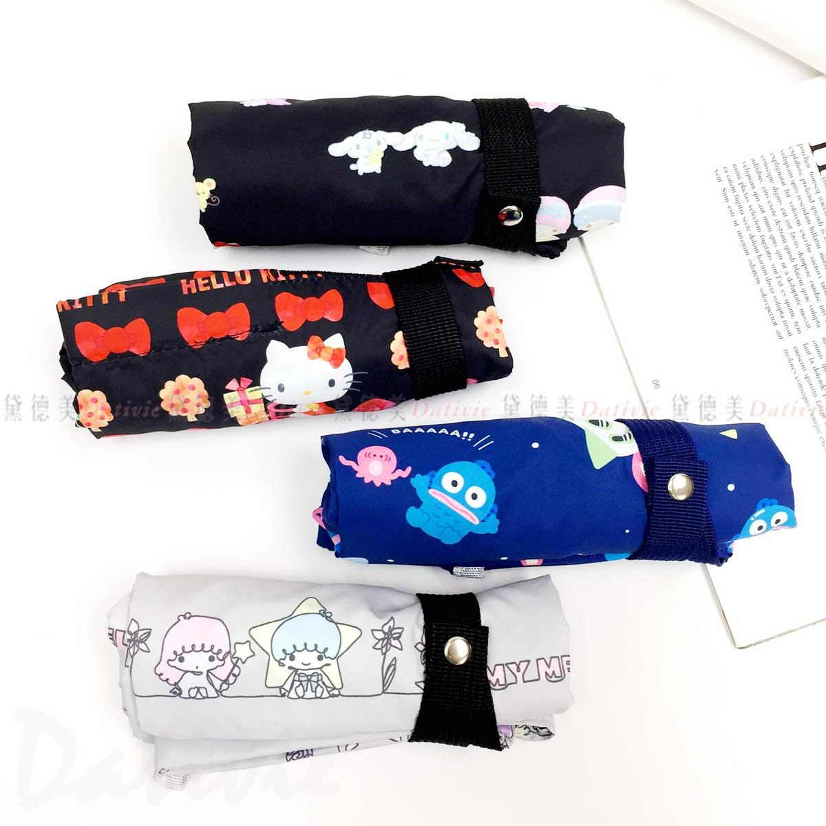 環保防潑水購物袋-人魚漢頓 凱蒂貓 角色大集合 三麗鷗 Sanrio日本進口正版授權